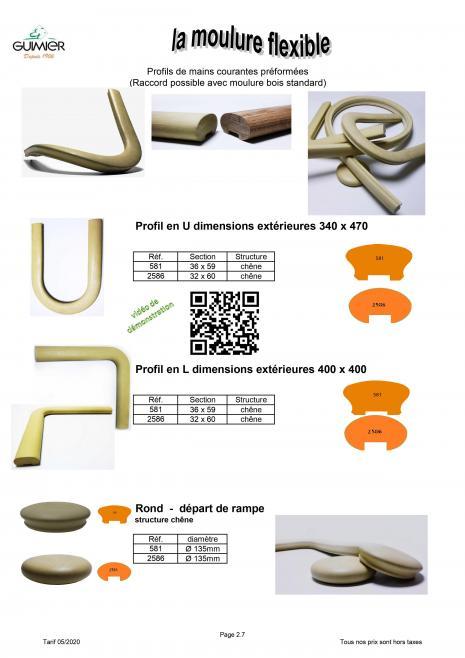Main courante flexible Guimier profil en U